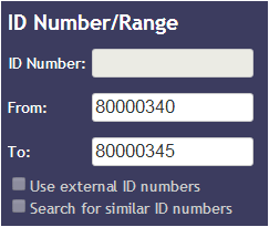 ID Number/Range search