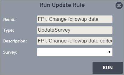 Run Update Rule dialog